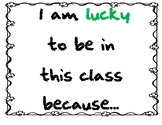 I am Lucky to be.... writing activity for March and/or St. Patrick's Day
