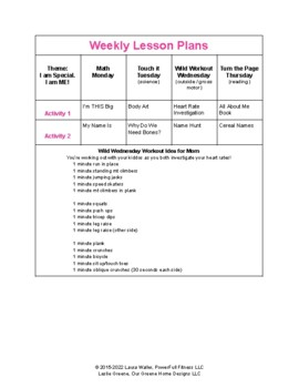 I am ME! Weekly Lesson Plan for Pre-K, Preschool, Kindergarten