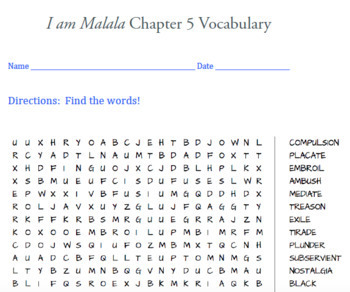 I am Malala packet- tons of word searches on vocabulary!!! (great deal)