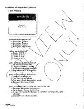 I am Malala: Prologue Quiz