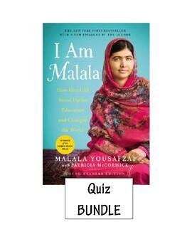 I am Malala Reading Check Quiz Bundle (Ch. 2, 6, 8, 10, 14, 17 &18, 23, 32)