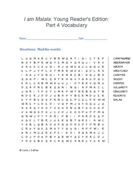 I am Malala: Young Reader's Edition: Part 4 Vocabulary (WORD SEARCH)