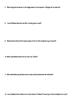 I am Malala Young Readers Edition Chapter 2 Questions