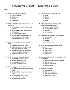 I am Number Four Quizzes - Chapters 1-34 with Answer Key