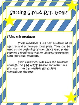 """I am SMART!"" -  SMART goal worksheets for students"