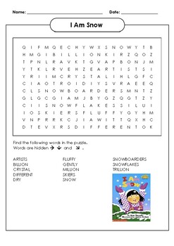 I am Snow Word Search