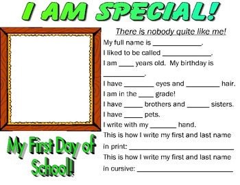 I am Special (back to school activity)