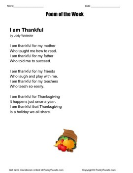 I am Thankful  A poem of the week by Jody Weissler Thanksgiving Poem