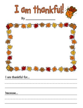 I am Thankful Creative Writing Prompt Kindergarten 1st Grade