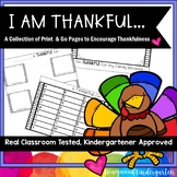 I am Thankful For ... Pack of 5 Print & Go Thanksgiving Activities