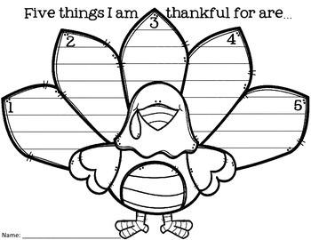 I am Thankful For -- Turkey Writing Activity