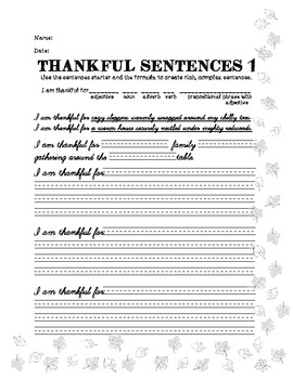 I am Thankful...- Rich, Complex Sentences