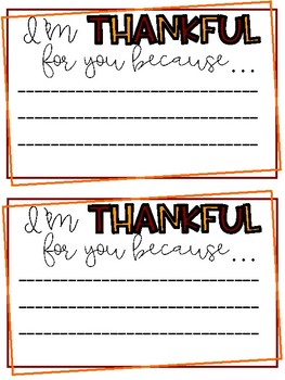 I am Thankful Teacher Note