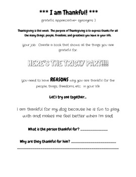 I am Thankful   - Thanksgiving Writing Project