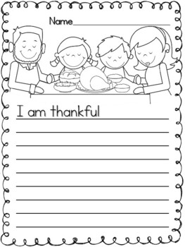 I am Thankful Writing
