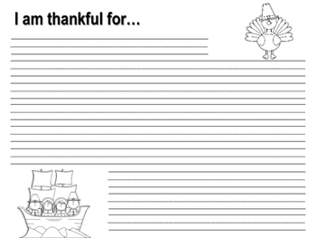 I am Thankful Writing Pages-Thanksgiving
