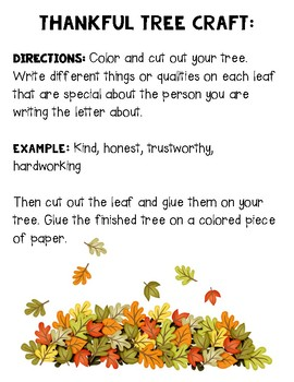 I am Thankful for You Letter and Tree Craft- Perfect for Thanksgiving