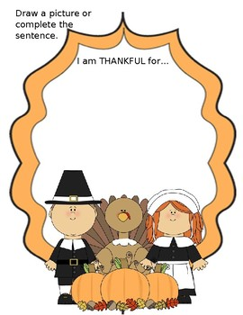 I am Thankful for worksheet - Thanksgiving