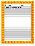 I am Thankful- writing template