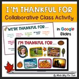 I am Thankful For Collaborative Thanksgiving Activity |EDITABLE|Google Classroom