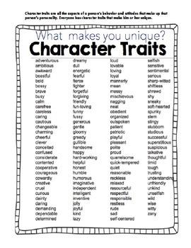 I am Unique - Character Traits Activities