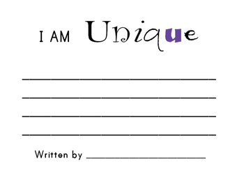 I am Unique Writing Activity