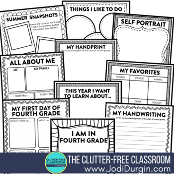 First Day of School FOURTH GRADE: A Clutter-Free Back to School Activity