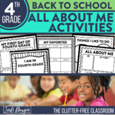 4th Grade All About Me First Day of School Activities Digital and Printable
