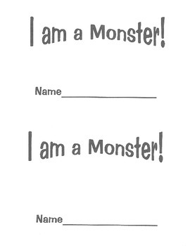 """I am a Monster"" emergent reader for a monster or Halloween theme"