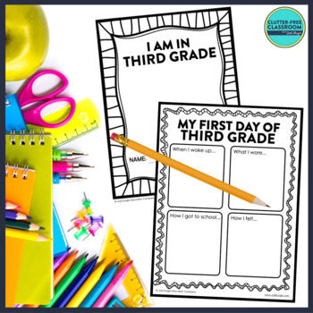 First Day of School THIRD GRADE: A Clutter-Free Back to School Activity