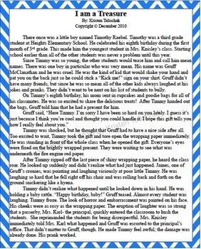 ELA Character Education Project - Original Realistic Fiction Story!