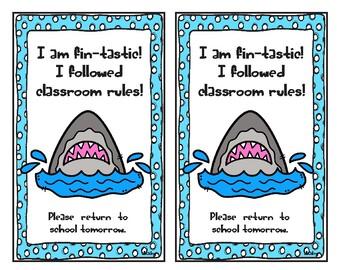 I am fin-tastic! I followed classroom rules. Shark Take home Card