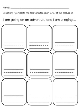 I am going on an adventure K/1/2 Writing Prompt Assignment