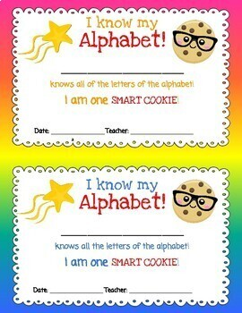 I am one Smart Cookie! I Know My Alphabet Certificate - Letters Sounds Award