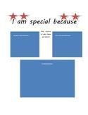 I am special because worksheet (positive school behavior group)