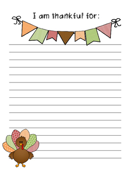 I am thankful for....Thanksgiving writing
