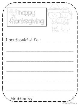 I am thankful for... Writing FREEBIE
