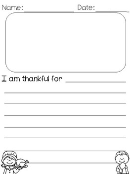 I am thankful for - Thanksgiving writing page