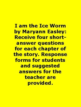 I am the Ice Worm by Maryann Easley Book Unit