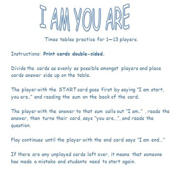 I am, you are - 2 x tables practice