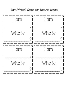 I am...Who Is? Back to School Game
