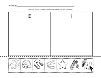 I and E Beginning Sound Sort - Spanish