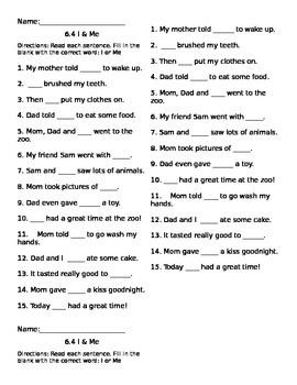 I and me Pronoun assessment