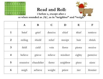 I before E, Except After C- Read and Roll Activity