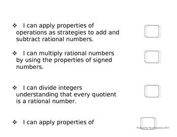 I can 7th Grade Math Standards