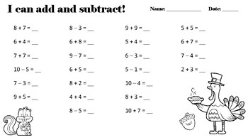 I can Add and Subtract worksheet