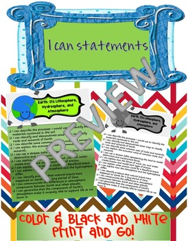 I can statements- Earth Science