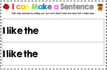 I can Make a Sentence Play Dough Mats School Themed Learn to Read