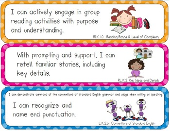 "Common Core Standards Posters (Kindergarten-- ""I can"")"