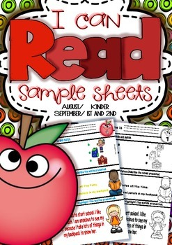 I can Read SAMPLE Sheets  August/September Color/b&w